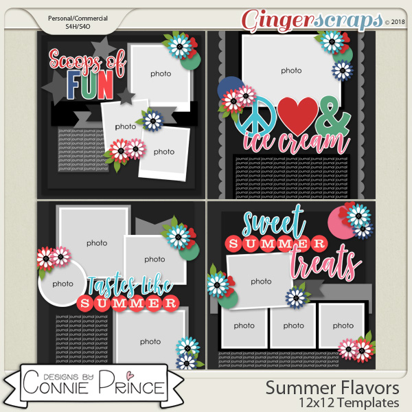 Summer Flavors - 12x12 Templates (CU Ok) by Connie Prince