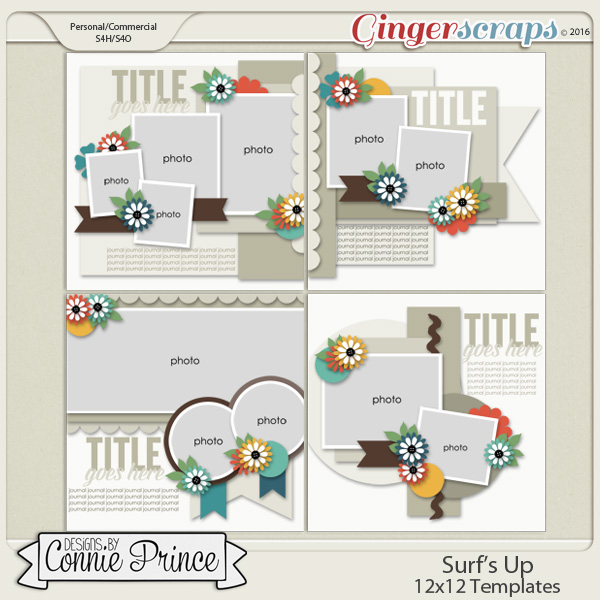 Surf's Up - 12x12 Templates (CU Ok)