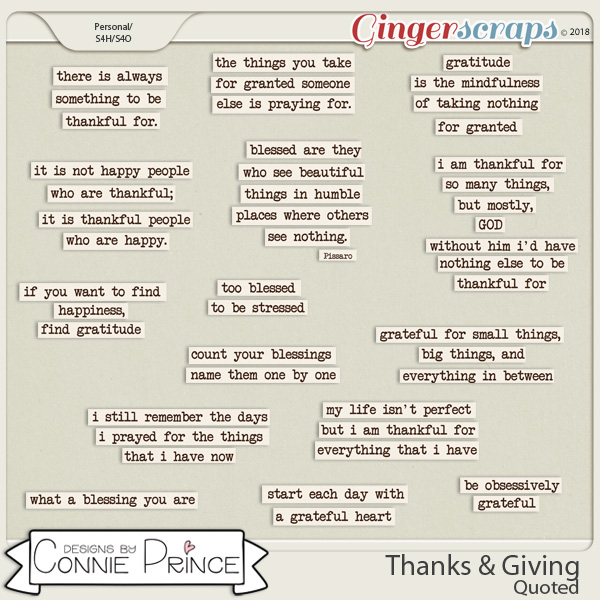 Thanks & Giving - Quoted by Connie Prince