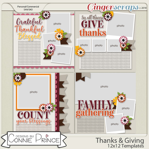 Thanks & Giving - 12x12 Templates (CU Ok) by Connie Prince
