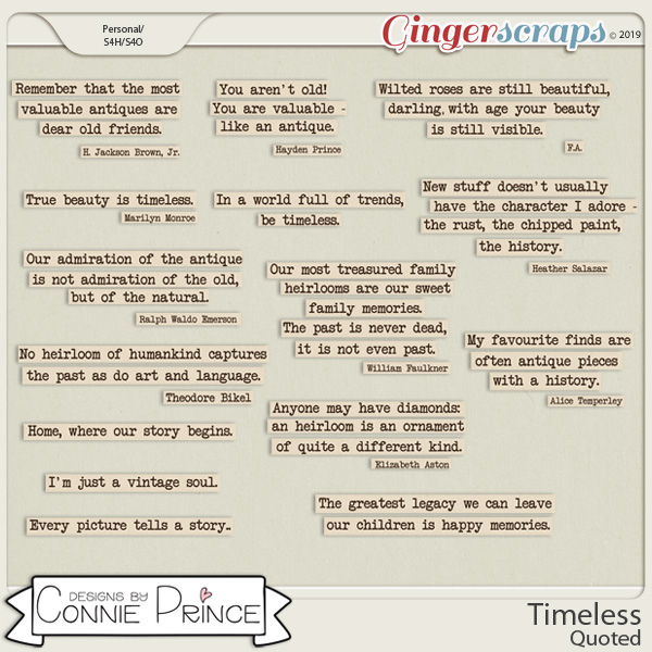 Timeless - Quoted by Connie Prince
