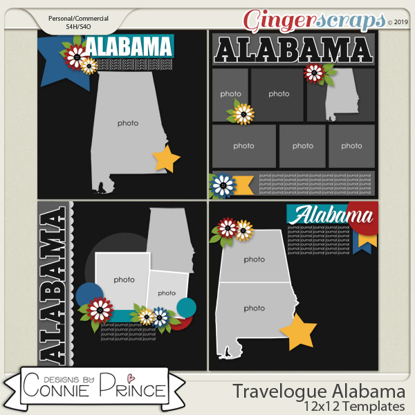 Travelogue Alabama - 12x12 Temps (CU Ok) by Connie Prince