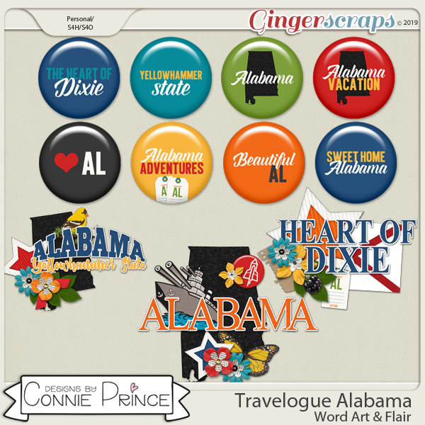 Travelogue Alabama - Word Art & Flair Pack by Connie Prince