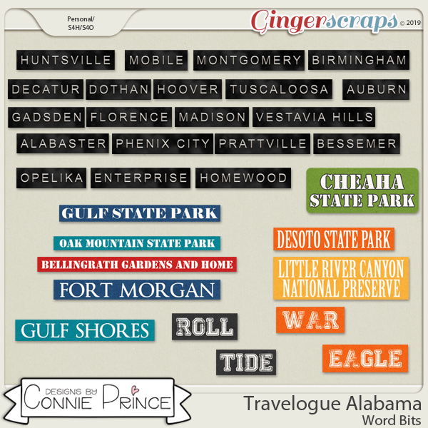 Travelogue Alabama - Word Bits by Connie Prince