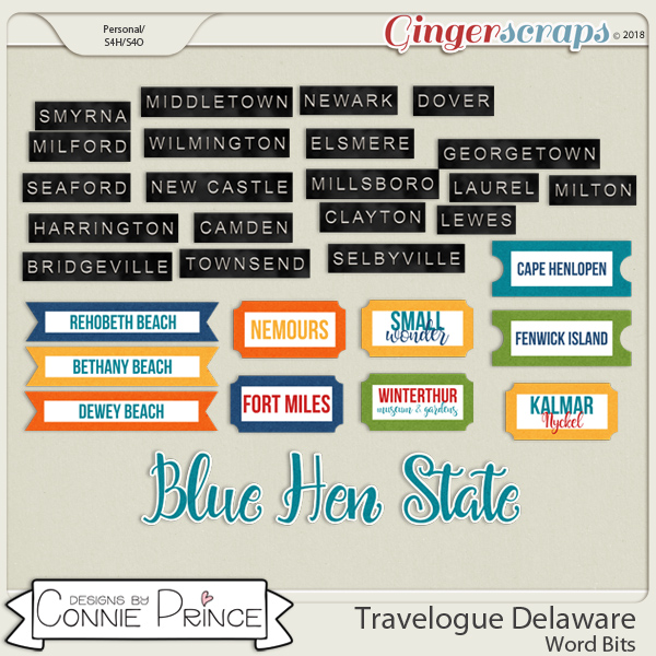 Travelogue Delaware - Word Bits by Connie Prince