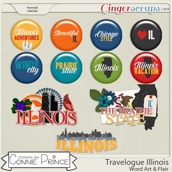 Travelogue Illinois - Word Art & Flair Pack by Connie Prince