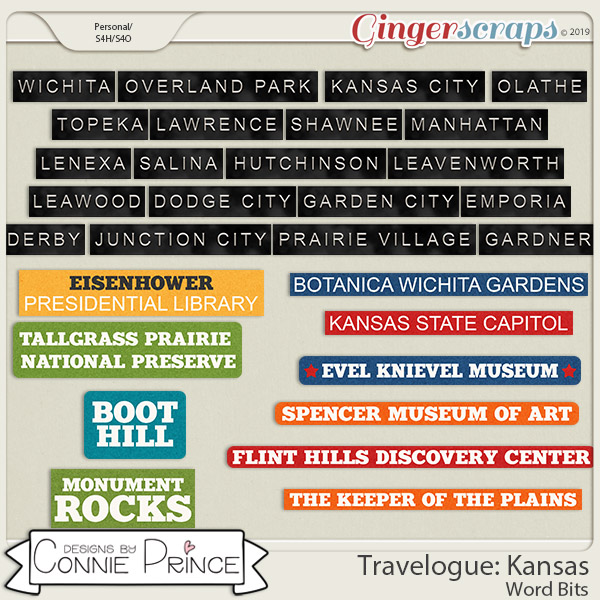 Travelogue Kansas - Word Bits by Connie Prince