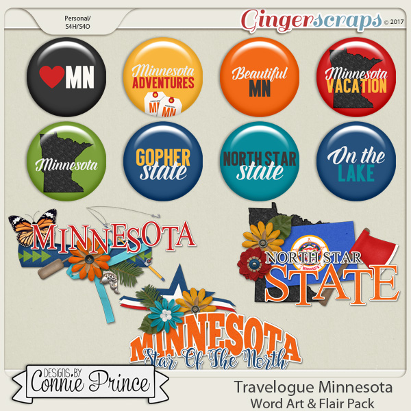 Travelogue Minnesota - Word Art & Flair Pack