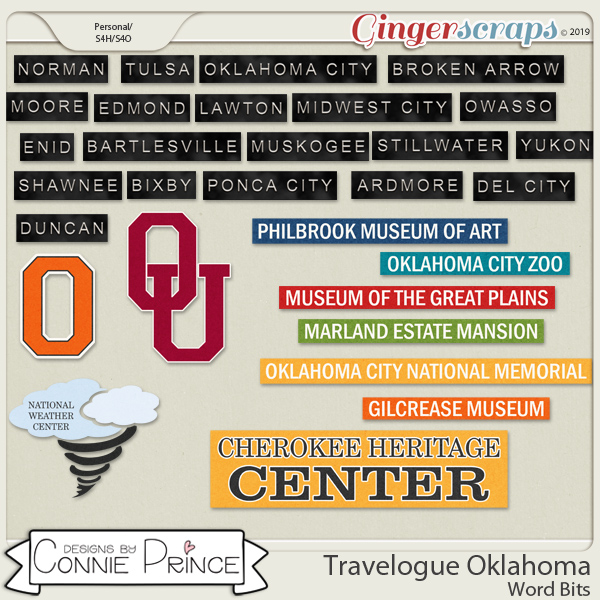 Travelogue Oklahoma - Word Bits by Connie Prince