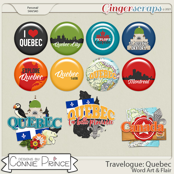 Travelogue Quebec Canada - Word Art & Flair Pack by Connie Prince