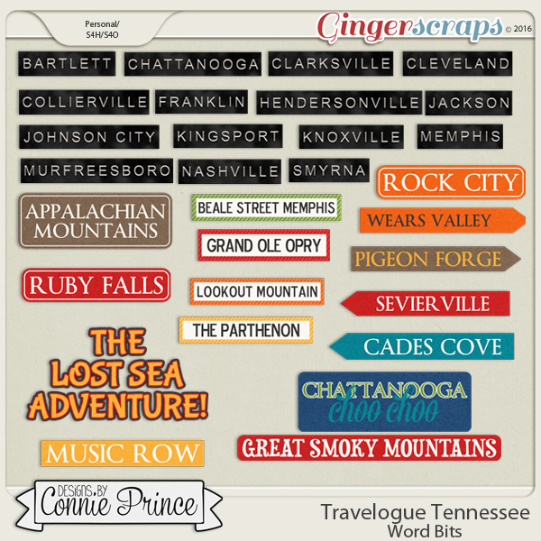 Travelogue Tennessee - Word Bits