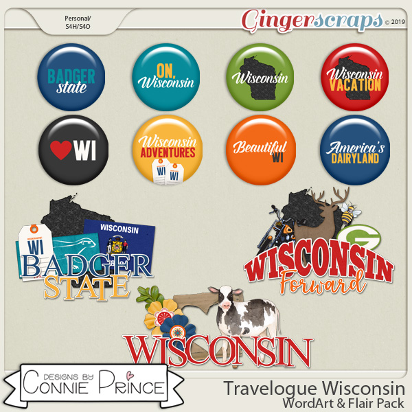 Travelogue Wisconsin - Word Art & Flair Pack by Connie Prince