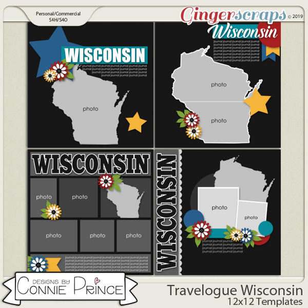Travelogue Wisconsin - 12x12 Temps (CU Ok) by Connie Prince