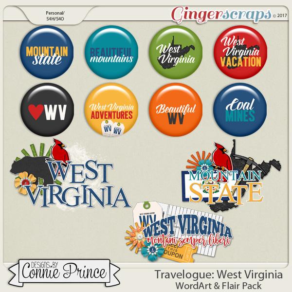 Travelogue West Virginia - Word Art & Flair Pack
