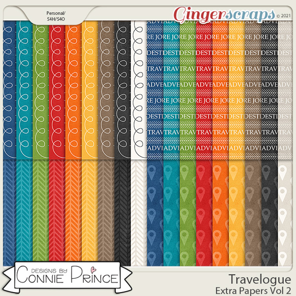 Travelogue - Extra Paper Pack 2 by Connie Prince