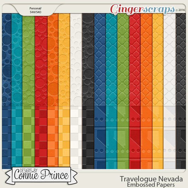 Travelogue Nevada - Embossed Papers Pack