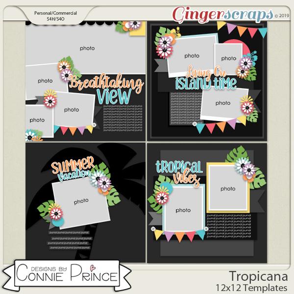 Tropicana - 12x12 Templates (CU Ok) by Connie Prince