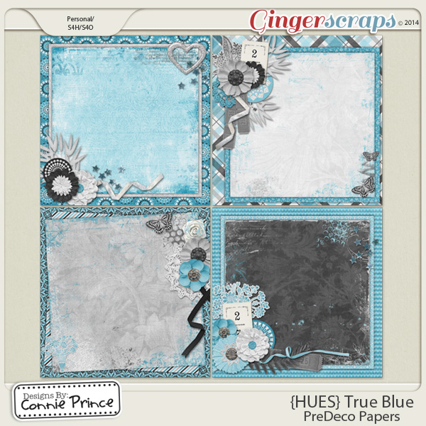 {HUES} True Blue - PreDeco Papers
