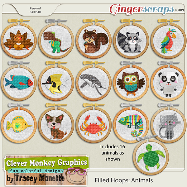 Filled Hoops - Animals by Clever Monkey Graphics