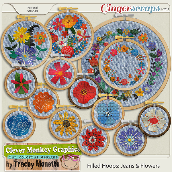 Filled Hoops - Jeans & Flowers by Clever Monkey Graphics