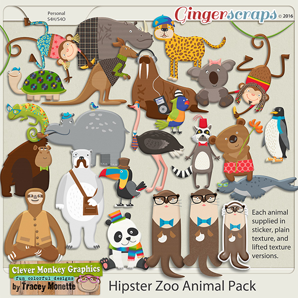Hipster Zoo Animal Pack by Clever Monkey Graphics
