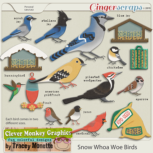 Snow Whoa Woe Bird Pack by Clever Monkey Graphics