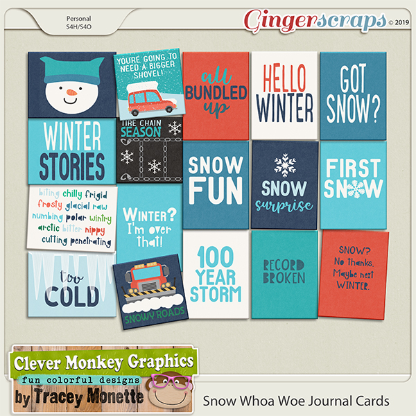 Snow Whoa Woe Journal Card Pack by Clever Monkey Graphics