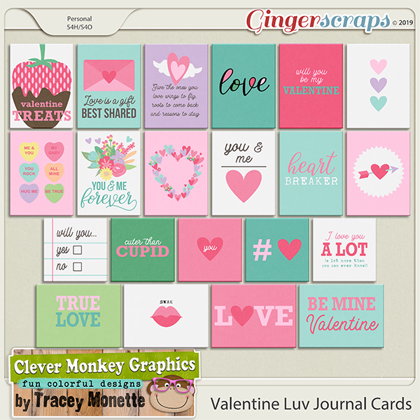 Valentine Luv Journal Cards by Clever Monkey Graphics