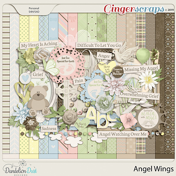 Angel Wings Digital Scrapbook Kit by Dandelion Dust Designs