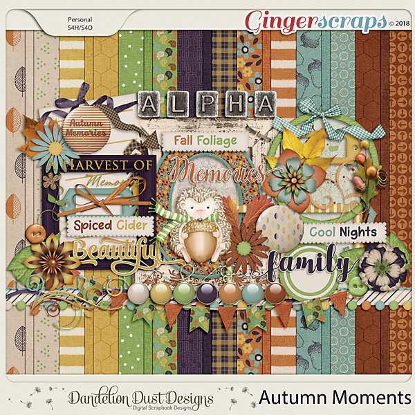 Autumn Moments Digital Scrapbook Kit By Dandelion Dust Designs