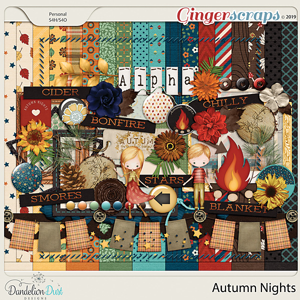 Autumn Nights Digital Scrapbook Kit by Dandelion Dust Designs