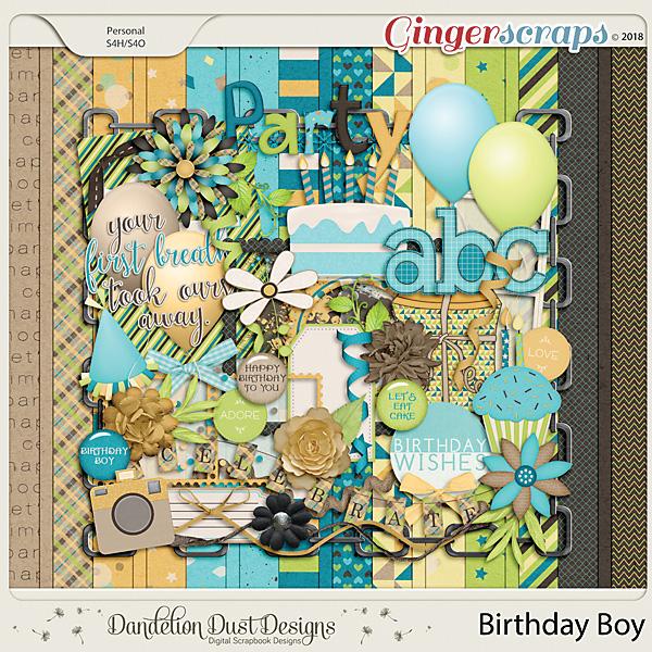Birthday Boy Digital Scrapbook Kit by Dandelion Dust Designs