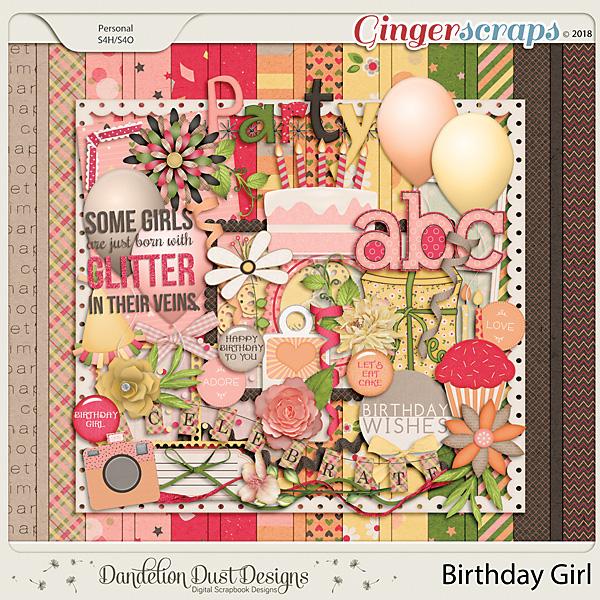 Birthday Girl Digital Scrapbook Kit By Dandelion Dust Designs