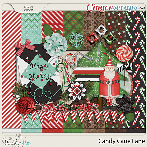 Candy Cane Lane Digital Scrapbook Kit by Dandelion Dust Designs