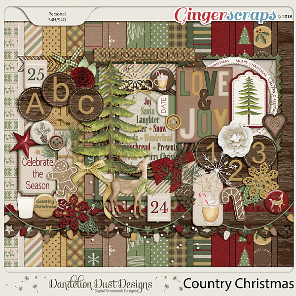 Country Christmas Digital Scrapbook Kit by Dandelion Dust Designs