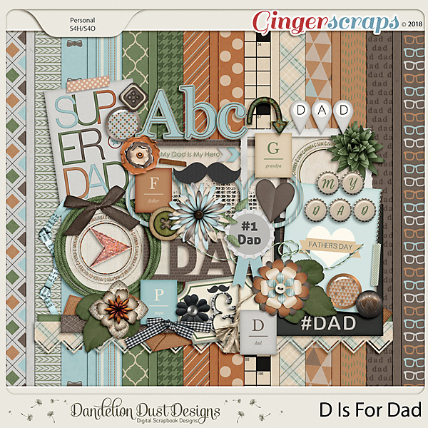 D Is For Dad Digital Scrapbook Kit By Dandelion Dust Designs