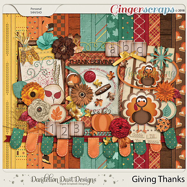 Giving Thanks Digital Scrapbook Kit by Dandelion Dust Designs