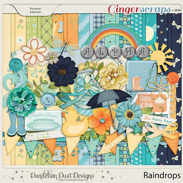 Raindrops Digital Scrapbook Kit By Dandelion Dust Designs