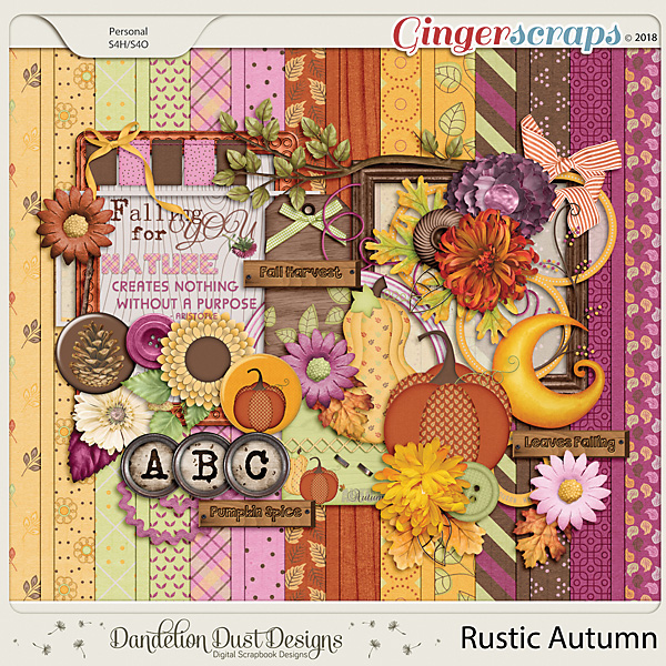 Rustic Autumn Digital Scrapbook Kit By Dandelion Dust Designs