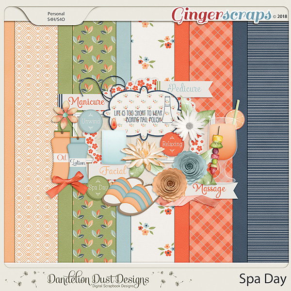 Spa Day Digital Scrapbook Kit By Dandelion Dust Designs