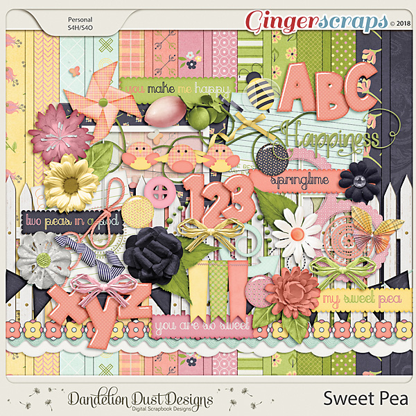Sweet Pea Digital Scrapbook Kit By Dandelion Dust Designs
