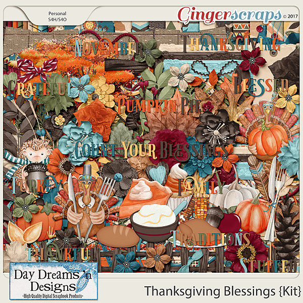 Thanksgiving Blessings {Kit with Alphas} by Day Dreams 'n Designs