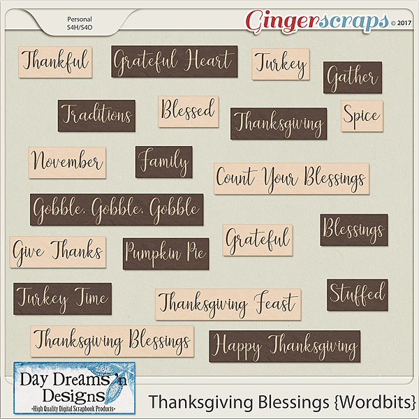Thanksgiving Blessings {Wordbits} by Day Dreams 'n Designs
