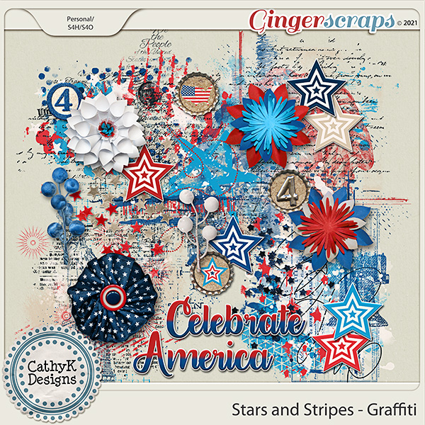 Stars and Stripes - Graffiti by CathyK Designs