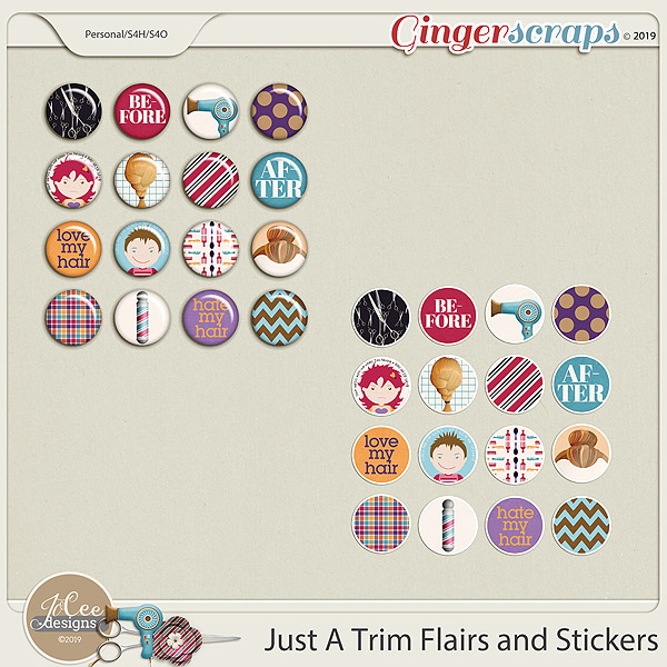 Just A Trim Flairs and Stickers by JoCee Designs