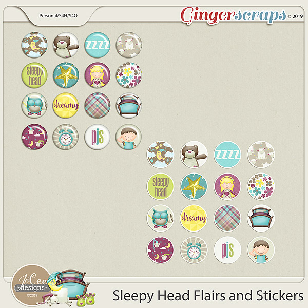 Sleepy Head Flairs and Stickers by JoCee Designs