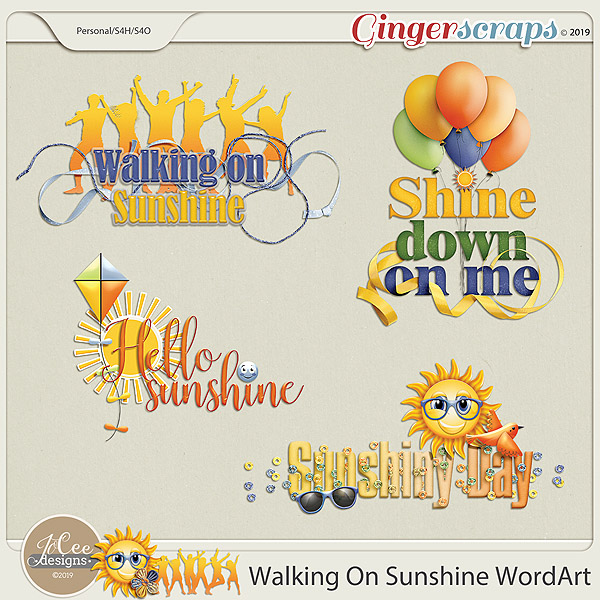 Walking On Sunshine Word Art by JoCee Designs