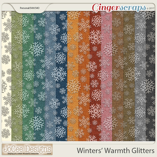 Winters' Warmth Snowflake Glitter Papers