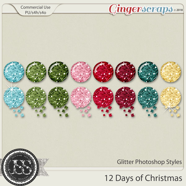 12 Days Of Christmas Glitter CU Photoshop Styles