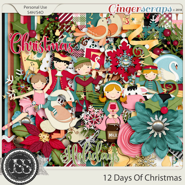 12 Days Of Christmas Digital Scrapbook Kit